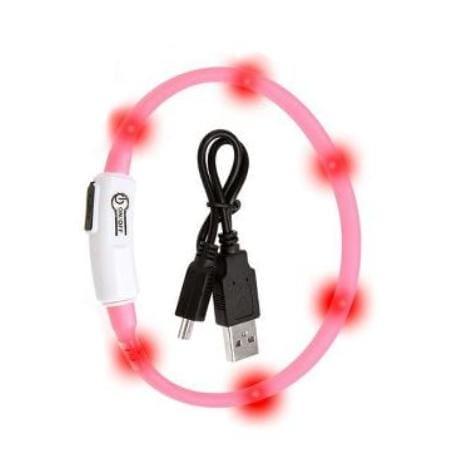 Obojek USB Visio Light 35cm růžový KAR 1ks