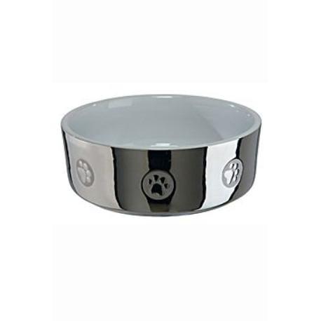 Miska keramická pes stříbrná s tlapkou 1,5l 19cm TR*