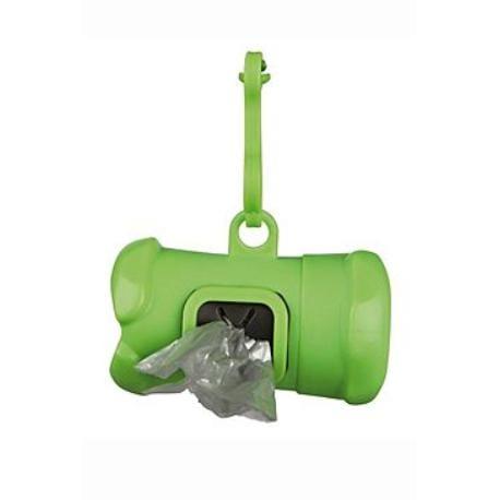 Pouzdro plast +sáčky na psí exkrementy KOST zelená TR