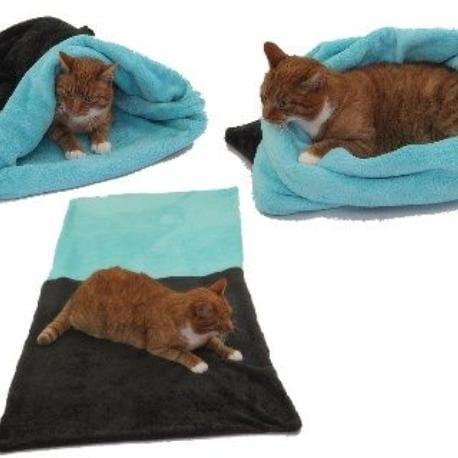Spací pytel 3v1 XL pro kočky č.11 tm.šedá/tyrkysová