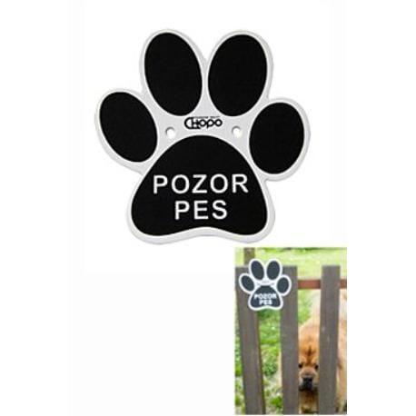 Cedulka Plastová Pozor pes - Tlapka 15x15cm 1ks