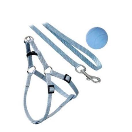 Postroj štěně nylon+vodítko 15-30cm/130cm modré KAR