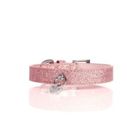 Obojek kožený Růžový třpytivý 45cm/2cm 1ks M&P