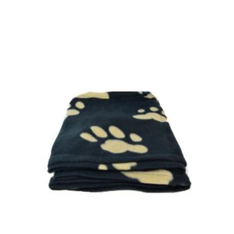 Deka pro psy fleece Barney Černá a tlapky 150x100cm TR
