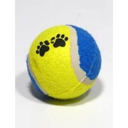 Hračka pes Loptička tenisová farebná s tlapkou 6,5cm TR