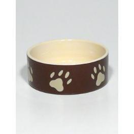 Miska keramická pes s béž.tlapkami Hnedá 0,3l 12cm TR