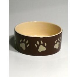 Miska keramická pes s béž.tlapkami Hnedá 0,8l 16cm TR