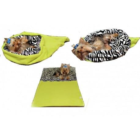 Spací pytel 3v1 pes,kočka č. 6 sv.zelená/zebra