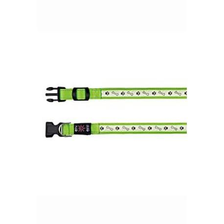 Obojek USB svítící 30-40cm/25mm S-M zelený TR*