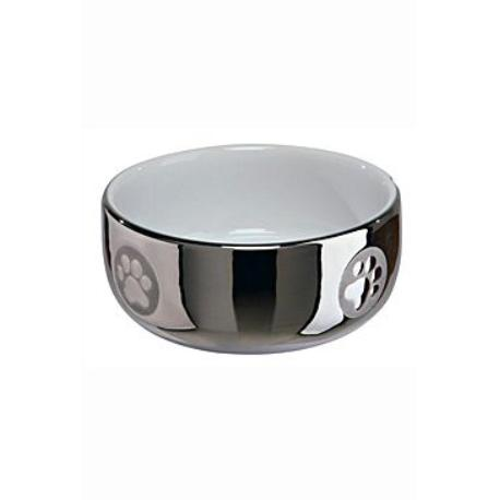 Miska keramická kočka stříbrná s tlapkou 0,3l 11cm TR*