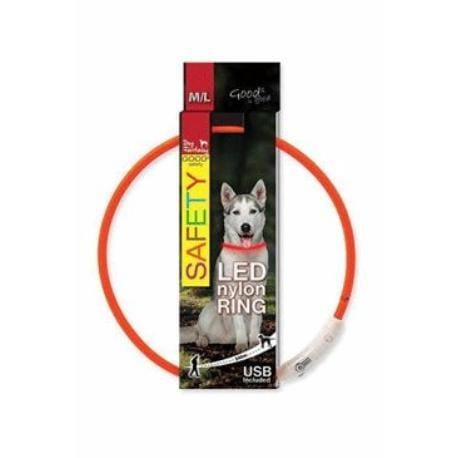 Obojek DOG FANTASY světelný USB oranžový 65 cm 1ks