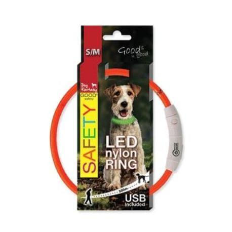 Obojek DOG FANTASY světelný USB oranžový 45 cm 1ks