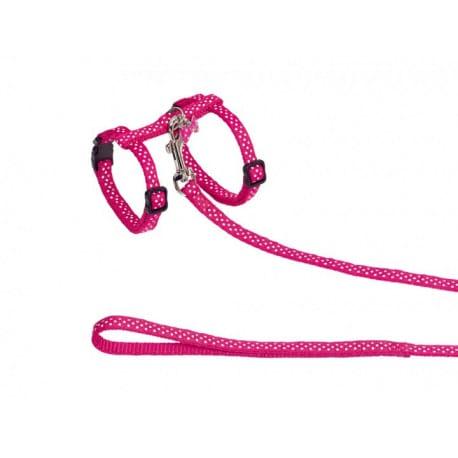 Nobby Dots růžový set postroje a vodítka s přívěskem