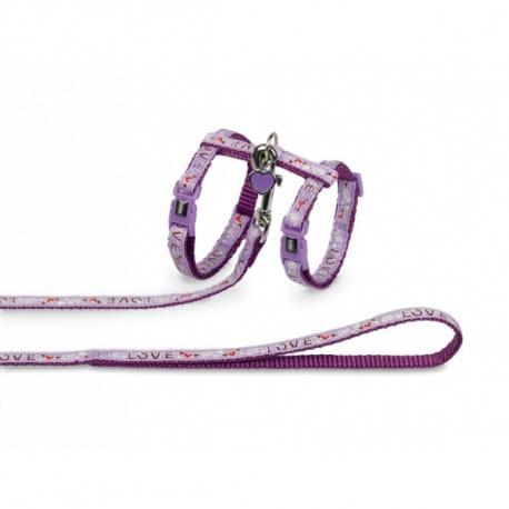 Nobby Love fialový set postroje a vodítka s přívěskem