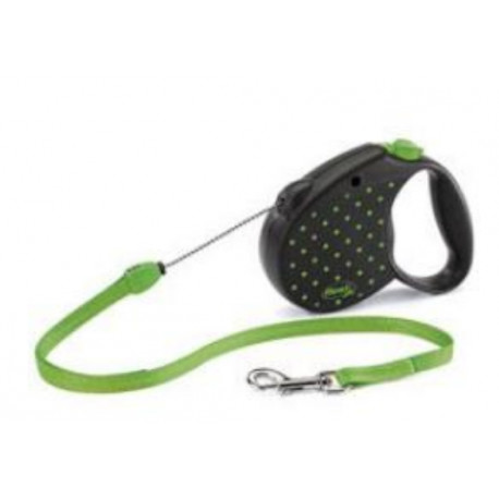 Vodítko FLEXI Color Dots M lanko 5m/20kg zelená