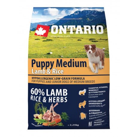 ONTARIO Dog Puppy Medium Lamb & Rice 2,25kg