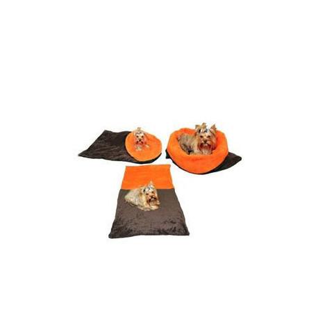 Spací pytel 3v1 tm. šedá/oranžová pes,kočka č.41