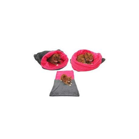 Spací pytel 3v1 šedá/tm.růžová XL pes,kočka č.3