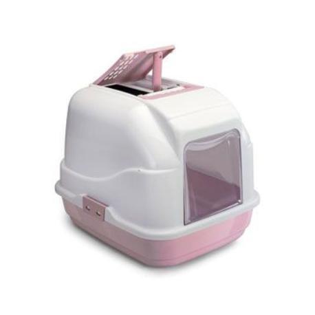 WC kočka s filtrem a lopatkou růžová 50x40x40cm