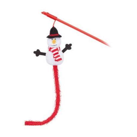 Vánoční Hračka kočka Sněhulák na udici 31cm TR