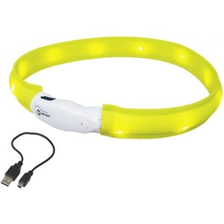 Nobby LED plochý svietiaci obojok pre psov žltý M 55cm