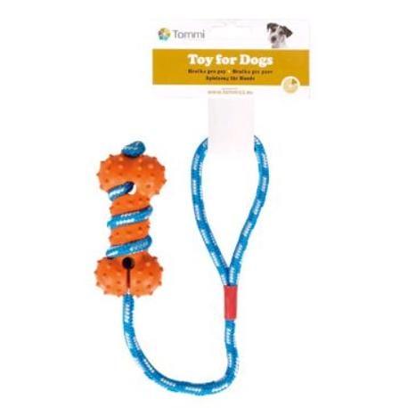 Hračka pes kost ježatá na šnůře 45cm