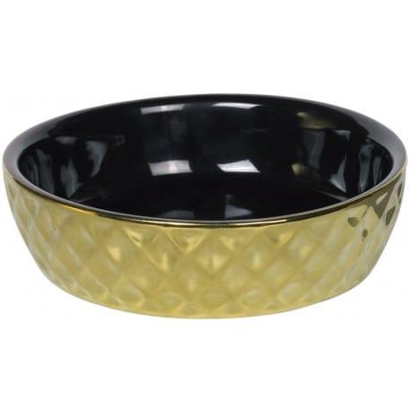 Nobby GOLD keramická miska pre mačky čierna so zlatým dekorom 14x4cm / 0,25l