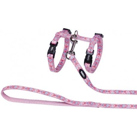 Nobby Flower Pink postroj s vodítkom pre mačky ružový