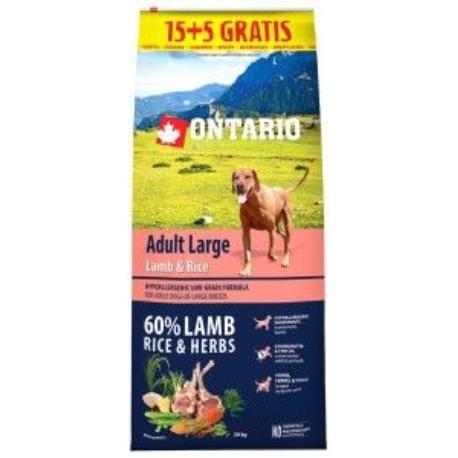 ONTARIO Dog Adult Large Lamb & Rice 15kg+5kg uvnitř