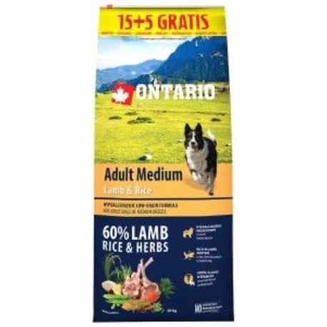 ONTARIO Dog Adult Medium Lamb&Rice 15kg+5kg uvnitř
