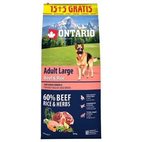 ONTARIO Dog Adult Large Beef&Rice 15kg+5kg uvnitř