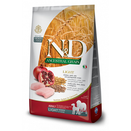 N & D LG DOG Light M / L Chicken & Pomegranate 12kg