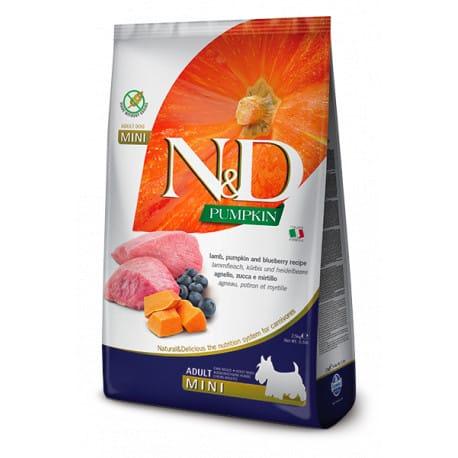 N&D GF Pumpkin DOG Adult Mini Lamb & Blueberry 7kg