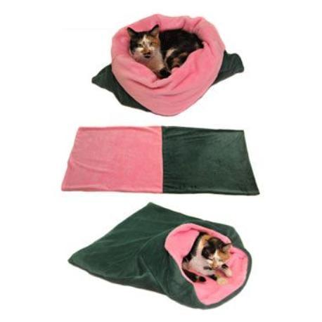 Spací pytel 3v1 tm.zelená/sv.růžová XL kočka k.20