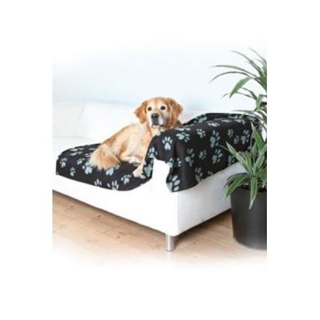 Deka pro psy BARNEY černá a šedé tlapky 150x100cm TR